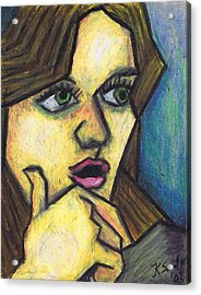 Surprised Girl Acrylic Print by Kamil Swiatek