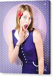 Surprised Pin-up Woman In Purple Polka Dot Dress Acrylic Print