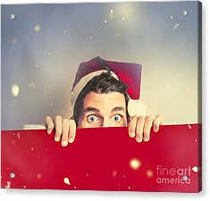 Surprised Santa Elf Holding Red Christmas Board Acrylic Print