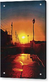 Surreal Cityscape Sunset Acrylic Print