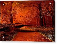 Surreal Fantasy Autumn Fall Orange Woods Nature Forest  Acrylic Print