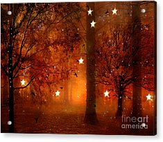 Surreal Fantasy Autumn Woodlands Starry Night Acrylic Print by Kathy Fornal