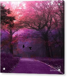 Surreal Fantasy Dark Pink Purple Nature Woodlands Flying Ravens  Acrylic Print