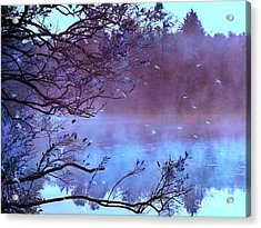 Surreal Fantasy Purple Fall Autumn Nature Scene Acrylic Print by Kathy Fornal