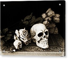 Surreal Gothic Dark Sepia Roses And Skull  Acrylic Print by Kathy Fornal