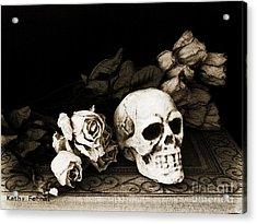 Surreal Gothic Dark Sepia Roses And Skull  Acrylic Print