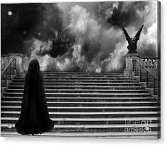 Surreal Gothic Infrared Black Caped Figure With Gargoyle On Paris Steps Acrylic Print by Kathy Fornal