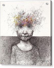 Surreal Hand Drawing Of A Boy From Stardust Decorative Artwork  - Cebanenco Stanislav Acrylic Print by Matusciac Alexandru