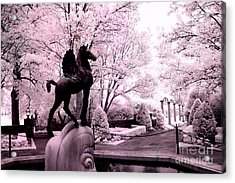 Surreal Infared Pink Black Sculpture Horse Pegasus Winged Horse Architectural Garden Acrylic Print by Kathy Fornal