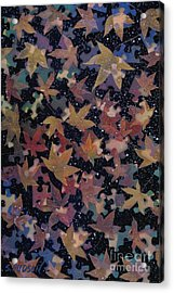 surreal landscape with autumn leaves - Autumn Sky Acrylic Print