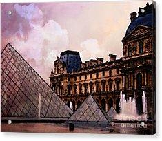 Surreal Louvre Museum Pyramid Watercolor Paintings - Paris Louvre Museum Art Acrylic Print