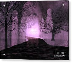 Surreal Purple Fantasy Nature Path Trees Landscape  Acrylic Print by Kathy Fornal