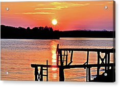 Surreal Smith Mountain Lake Dock Sunset Acrylic Print