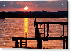 Surreal Smith Mountain Lake Dockside Sunset 2 Acrylic Print