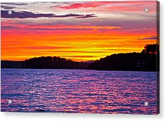 Surreal Smith Mountain Lake Sunset 2 Acrylic Print