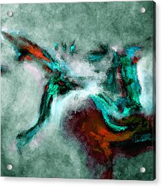 Acrylic Print featuring the painting Surrealist And Abstract Painting In Orange And Turquoise Color by Ayse Deniz