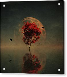 Surrealistic Landscape With Red Mapple And Full Moon Acrylic Print