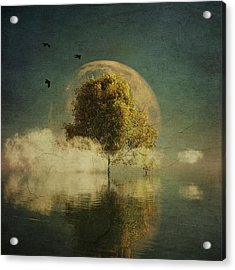 Surrealistic Landscape With Yellow Birch And Full Moon Acrylic Print