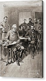 Surrender Of Robert E Lee To General Ulysses S Grant, Appomattox Court House,virginia Acrylic Print by American School