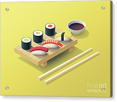 Sushi Set Isometric - Yellow Acrylic Print