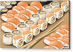 Acrylic Print featuring the painting Sushi by Veronica Minozzi
