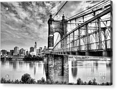 Suspension Bridge At Cincinnati Bw Acrylic Print
