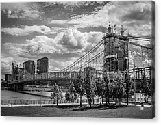 Suspension Bridge Black And White Acrylic Print by Scott Meyer