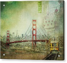 Acrylic Print featuring the photograph Suspension - Golden Gate Bridge San Francisco Photography Mixed Media Collage by Melanie Alexandra Price