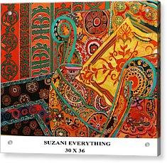 Suzani Everything Acrylic Print by Linda Arthurs