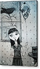 Acrylic Print featuring the mixed media Suzannah by Josean Rivera
