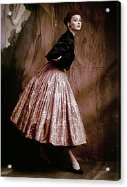 Suzy Parker In Givenchy Full Skirt Acrylic Print by John Rawlings
