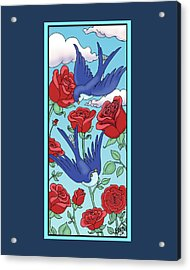 Swallows And Roses Acrylic Print by Eleanor Hofer