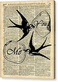Swallows In Love,flying Birds Vintage Dictionary Art Acrylic Print by Jacob Kuch