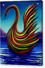 Acrylic Print featuring the painting Swan #2 by Chris Boone