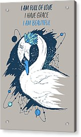 Swan Among The Stars - Affirmation Series - Blue And Grey Acrylic Print