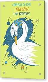 Swan Among The Stars - Affirmation Series - Blue And Orange Acrylic Print