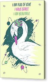 Swan Among The Stars - Affirmation Series - Pink And Mint Acrylic Print