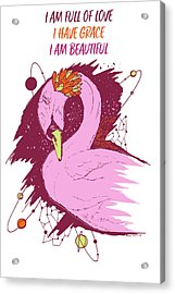 Swan Among The Stars - Affirmation Series - Pink And Orange Acrylic Print