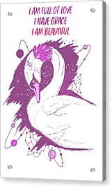 Swan Among The Stars - Affirmation Series - Pink And White Acrylic Print