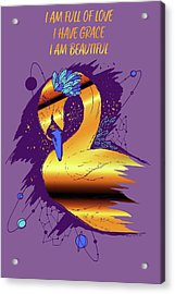 Swan Among The Stars - Affirmation Series - Purple And Gold Acrylic Print