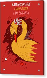 Swan Among The Stars - Affirmation Series - Red And Gold Acrylic Print
