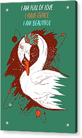 Swan Among The Stars - Affirmation Series - Teal And Orange Acrylic Print