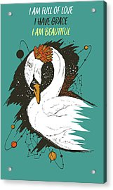 Swan Among The Stars - Affirmation Series - Turquoise And Orange Acrylic Print