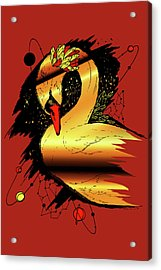 Swan Among The Stars Red Gold Acrylic Print