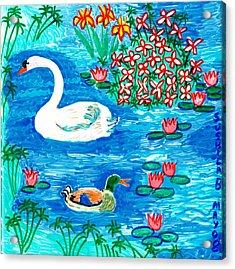 Swan And Duck Acrylic Print by Sushila Burgess