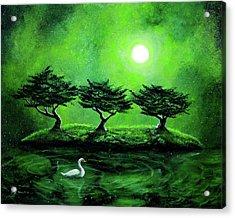 Swan In An Emerald Lake Acrylic Print