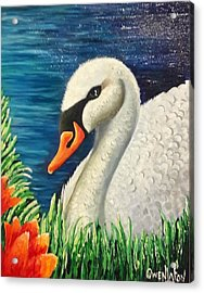 Swan In Pond Acrylic Print