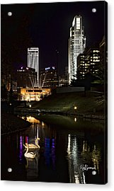 Swans At Night Acrylic Print by Jeff Swanson