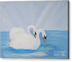 Swans On Open Water Acrylic Print