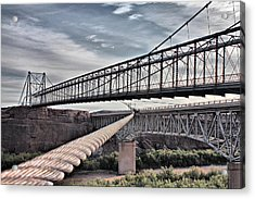Acrylic Print featuring the photograph Swayback Suspension Bridge by Farol Tomson